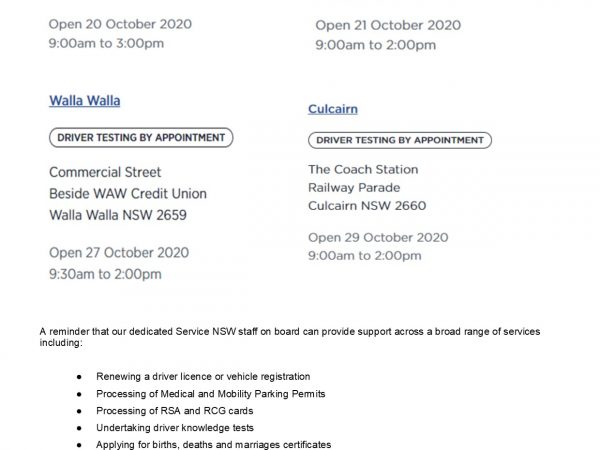service NSW mobile vans October 2020